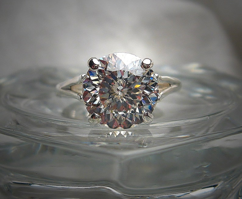 5a7f2c7b1bf2d Portuguese Cut Cubic Zirconia CZ Engagement Ring 10mm (3.5 carats) Tinted  (G or H color) Solitaire Sterling Silver Made to Order