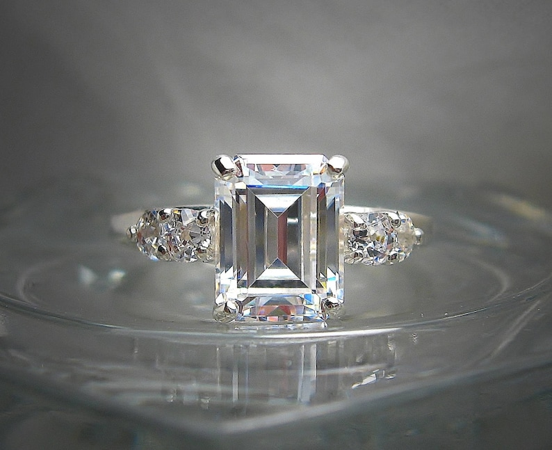98d979e00 Emerald Cut Cubic Zirconia CZ Engagement Ring 9x7mm 2.5 cts | Etsy