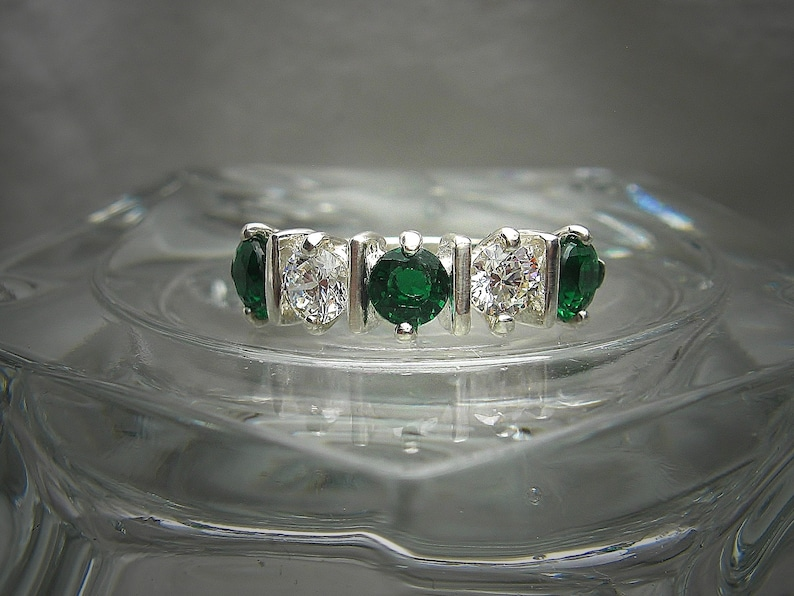 Lab Emerald and Round Brilliant Cubic Zirconia CZ Wedding Band 4mm Tint G or White Quality Five 5 Stone Sterling Silver Ring Made to Order