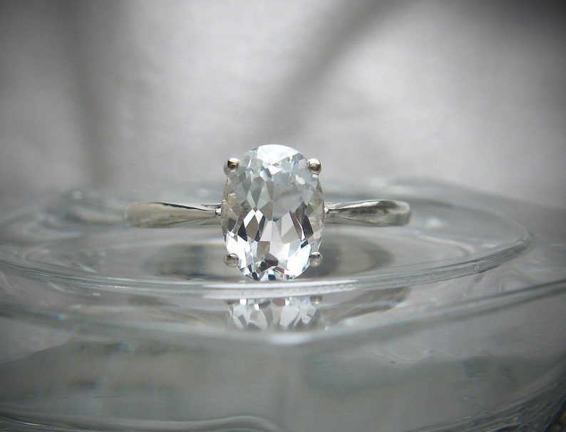 1.40 carats 9x7mm Solitaire Sterling Silver Ring Made to Order Natural White Topaz Oval Ring 8x6mm 2.25 carats 3.40 carats or 10x8mm