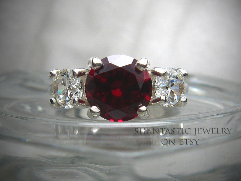 Lab Created Ruby Round Brilliant Cubic Zirconia CZ Ring Tint or White 8mm  (2 ct) and 5mm CZ Sterling Silver Three 3 Stone Made to Order