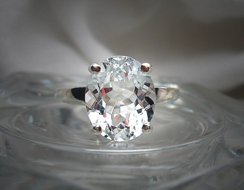 Natural White Topaz Oval Ring 12x10mm 6 carats Solitaire image 0