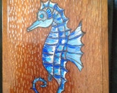 multi media, wood burning and painted multicolor sea horse upcycled cigar box