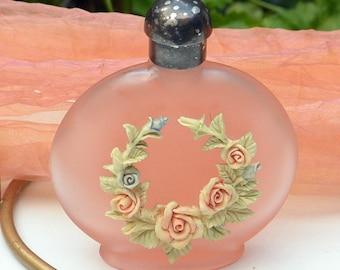 Pink Perfume Bottle - Porcelain Flowers, Hand Painted - Vintage - Fabulous!