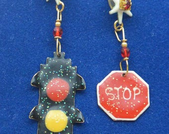 Lunch at the Ritz Earrings - Stop Sign/Traffic Light, Signed, Pierced - Free US Shipping- Vintage - Fabulous!