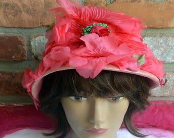 48HR SALE! Schiaparelli Dress Hat - Pink Floral, Millinery, Pink, Green Flowers - Vintage - Fabulous!