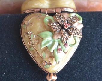 Carucci Jeweled Trinket Box - Enameled, Raised Flower, Swarovski Crystals - Vintage - Fabulous!