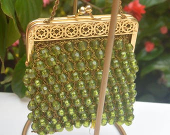 e775c30701957 SALE! Hand Beaded Bag - Green Beads