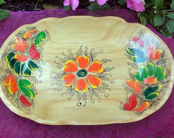 SALE! Caribbean Wood Tray - Hand Painted Flowers, Lacquered, Scalloped - Vintage - Fabulous!