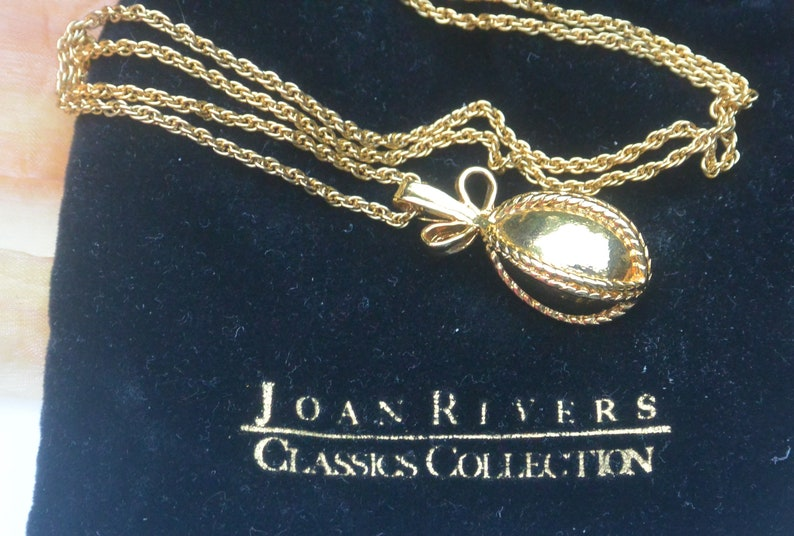 Vintage Joan Rivers Egg Set SALE NecklaceEarrings Pouches- Free US Shipping Fabulous! Signed