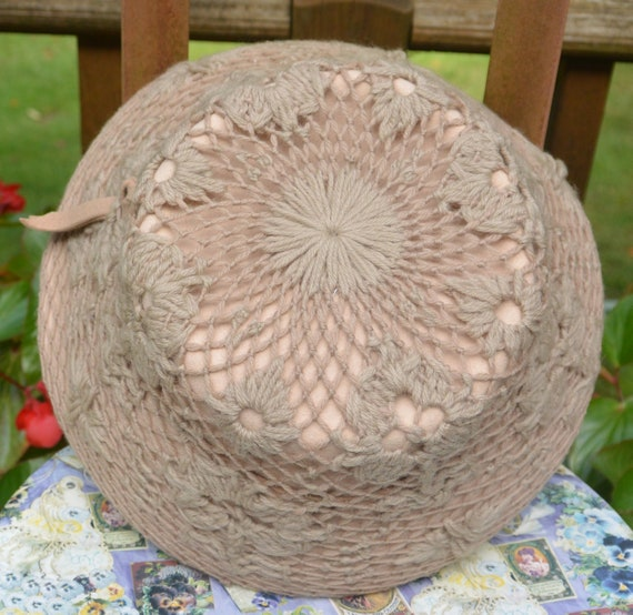 SALE! Elsa Schiaparelli Hat - Taupe Crochet Cover,