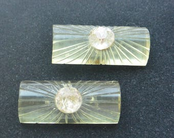 Art Deco Clips - Glam Rhinestone, Great Color, Shoes/Dress - Free US Shipping - Vintage - Fabulous!