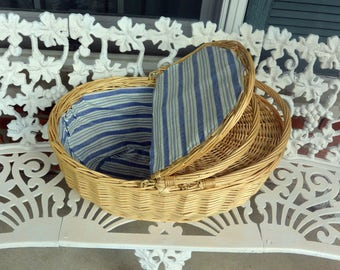 Picnic Basket - Wicker, Fabric Covered Interior, Blue & White -Vintage -  Fabulous!