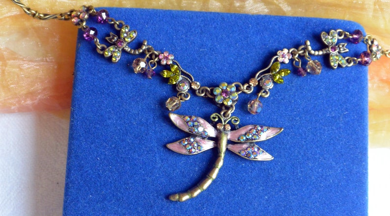 Dragonfly Signed 48 HR SALE Kirks Folly Necklace Free US Shipping -Vintage- Fabulous! Multi Color Firy Crystals