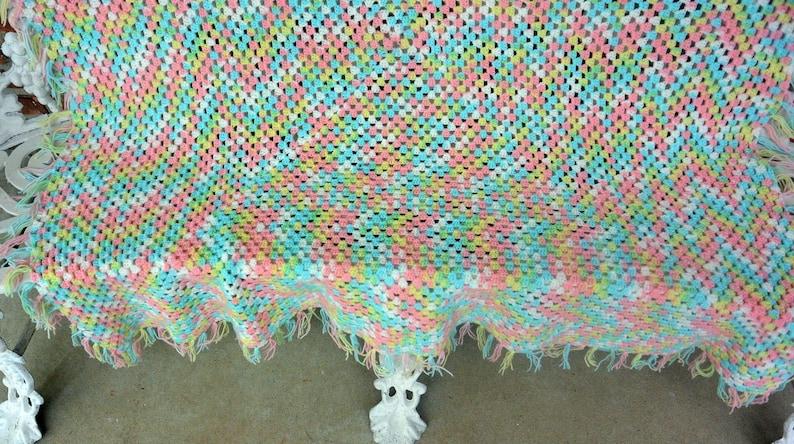 48 HR SALE Pastel Colors Fabulous! WarmCozy- Vintage Hand Crochet AfghanThrow