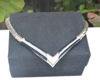 Whiting & Davis Necklace -Art Deco, Mesh Silver and Black, Signed - Free US Shipping - Vintage - Fabulous!