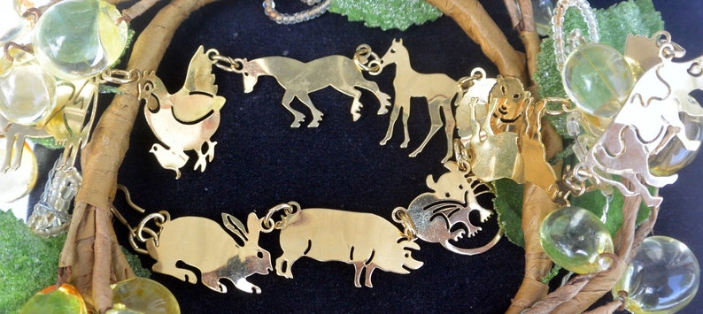 Fabulous! Wild Bryde Necklace Gold Plated 48 HR SALE Free US Shipping -Vintage Signed Rare Farm Animals