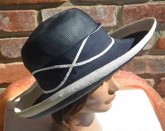 Schiaparelli Paris Hat - Navy & White, Straw Grosgrain, Great Condition - Vintage - Fabulous!
