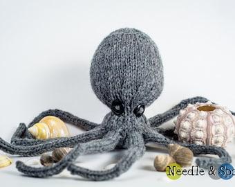 Gray octopus plush, octopus softie, amigurumi, baby toy, shower gift