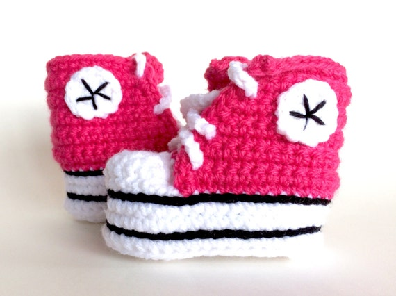Pink crochet baby converse booties, baby girl converse, custom converse, girl shower gift