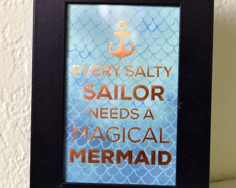 Mermaid  & Sailor Framed Art Decor