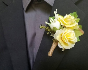 Wedding Boutonniere (Boutineer) - White and Yellow Roses with Ruatic Burlap