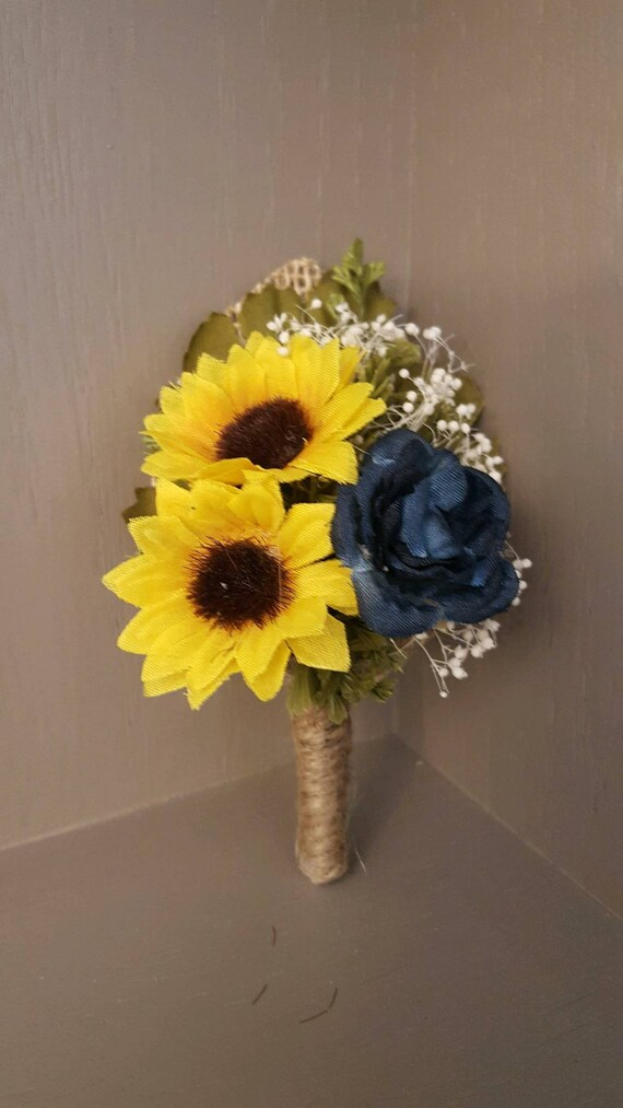 Pick Ribbon Color Sunflower Boutonniere with Greenery
