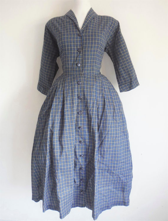 1950s Blue Plaid Cotton Shirtdress - image 2
