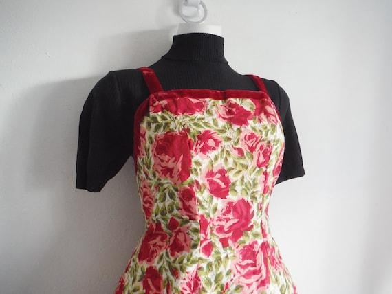 1950s Rose Print Cotton Sun Dress - image 5