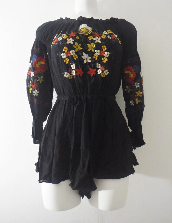 1940s Inspired 1970s Embroidered Peasant Blouse Pl