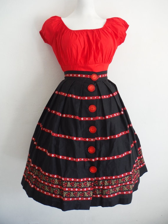 1950s Printed Skirt and Peasant Blouse Set