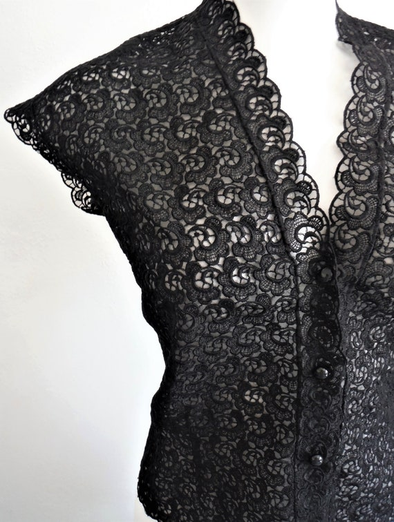 1950s Black Lace Blouse