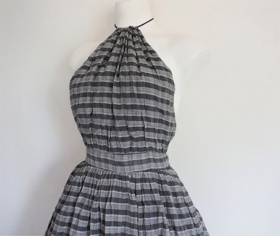 Chic 1950s Plaid Chiffon Halter Dress
