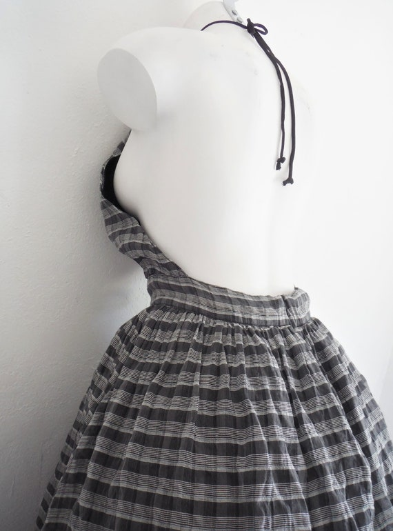 Chic 1950s Plaid Chiffon Halter Dress - image 4