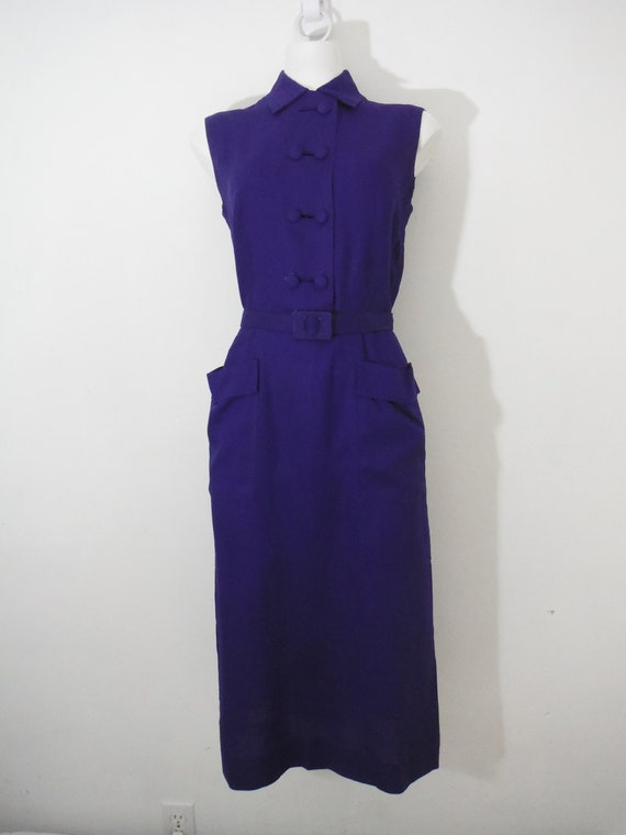 1950s Deep Blue Sleeveless Linen Dress