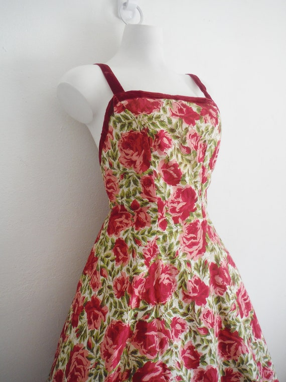 1950s Rose Print Cotton Sun Dress