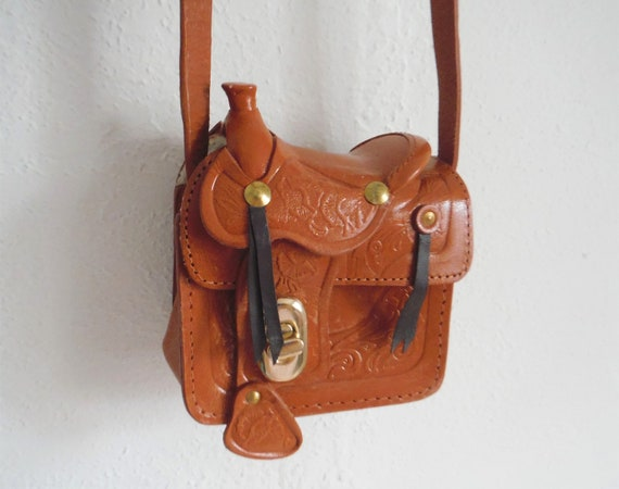 1950s Mini Tooled Leather Saddle Bag
