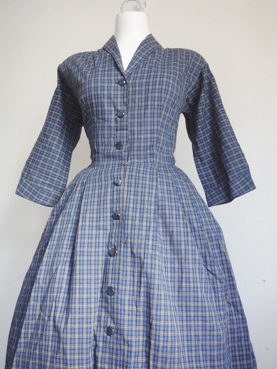 1950s Blue Plaid Cotton Shirtdress - image 1