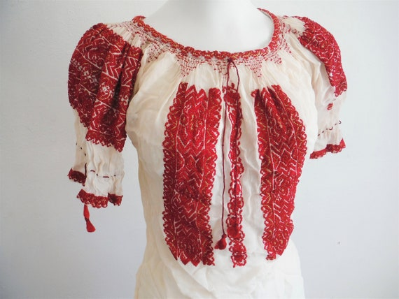 1930s Silk Gauze Red Embroidered Romanian Peasant