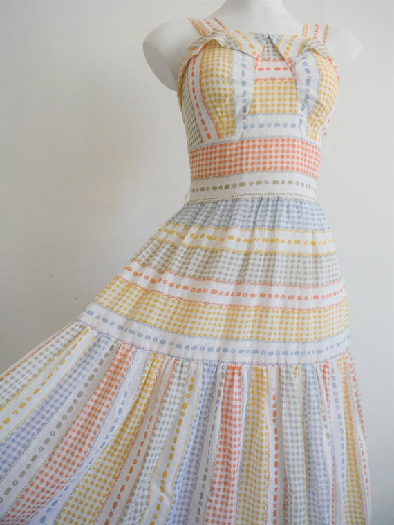 1950s Rainbow Gingham Printed Cotton Sundress