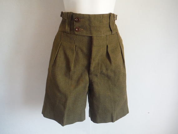 1950s Green Wool Military Shorts