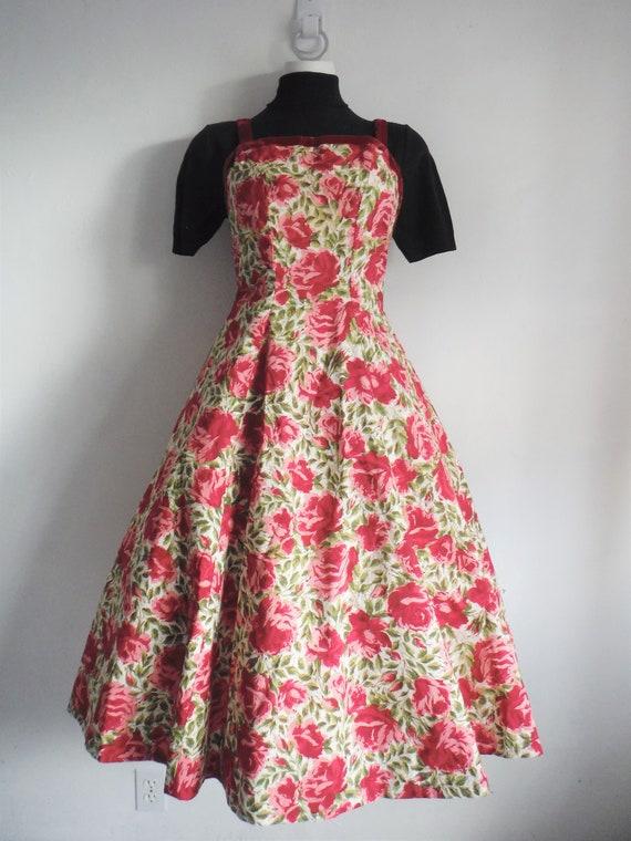 1950s Rose Print Cotton Sun Dress - image 4