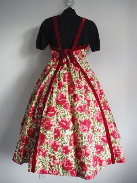 1950s Rose Print Cotton Sun Dress - image 6