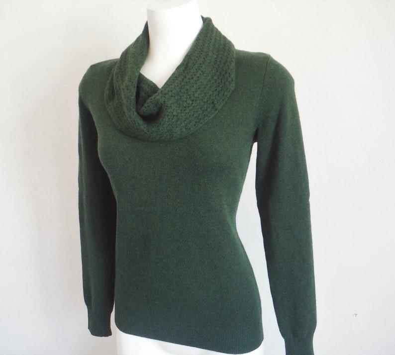 Pine Green Shawl Collar Cashmere Sweater
