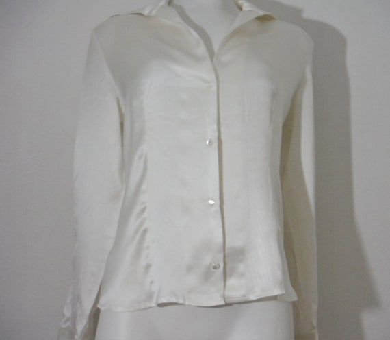 1950s Style Ivory Silk Blouse