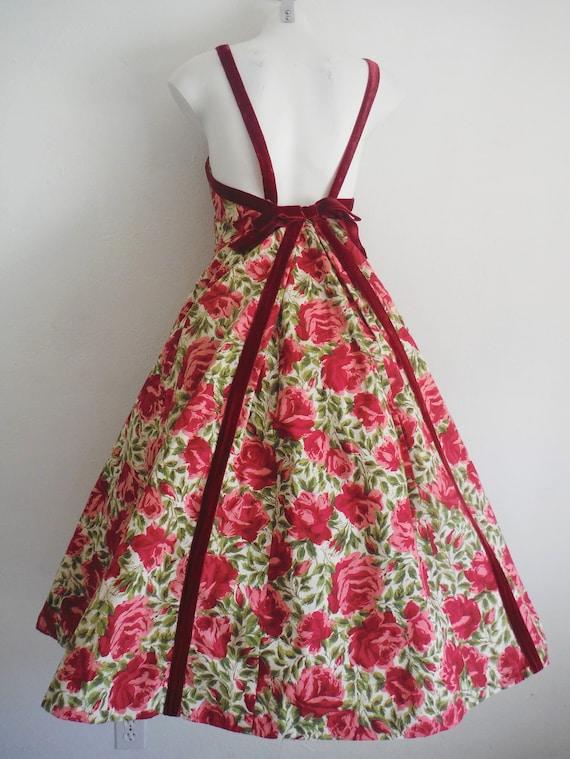 1950s Rose Print Cotton Sun Dress - image 2