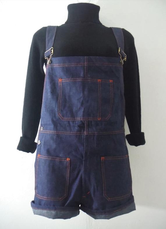 NOS 1970s Denim Overall Suspender Shorts
