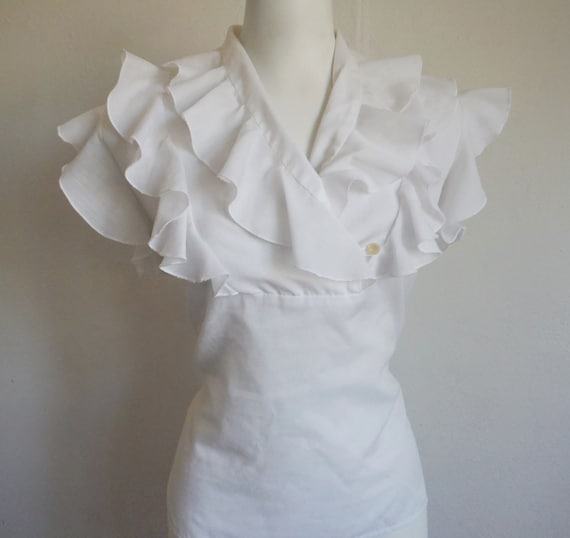 Sweet Vintage 1950s White Ruffled Cotton Blouse