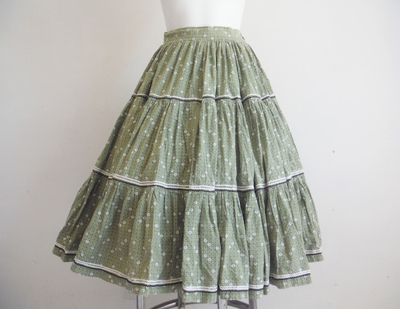 1950s Green Floral Cotton Skirt