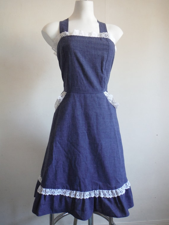 1970s Dark Blue Cotton Chambray Sundress